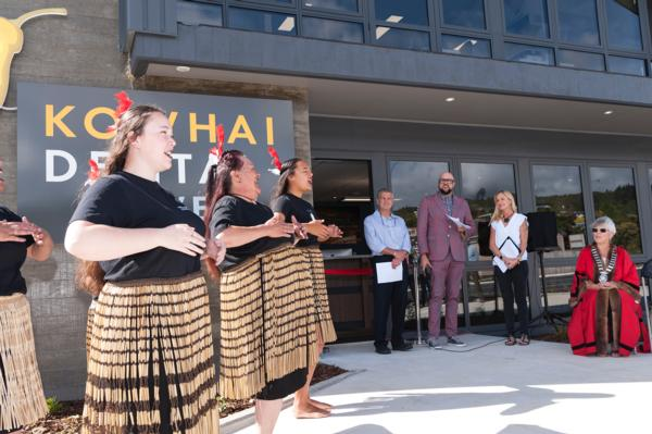 Members of Tu Tika Tours perform a powhiri at the opening of Kowhai Dental in Maunu Road, Whangarei. Watching are owners Jeff and Jana Joy with MC Luke Bird and Whangarei Mayor Sheryl Mai who cut the ribbon to launch the new clinic.