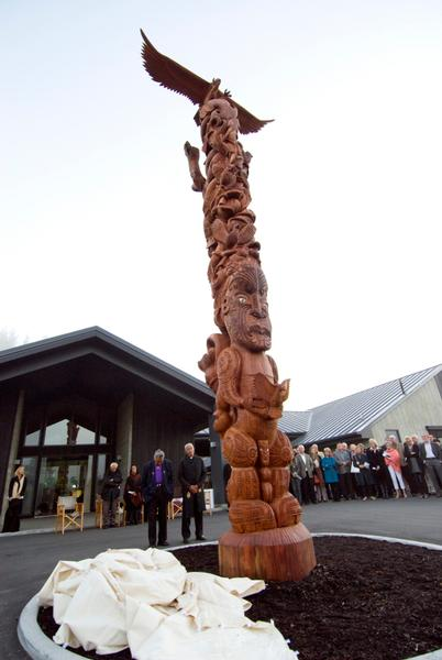 Blessing of an imposing nine metre high Pouwhenua at the entrance to the Wairakei Golf Course