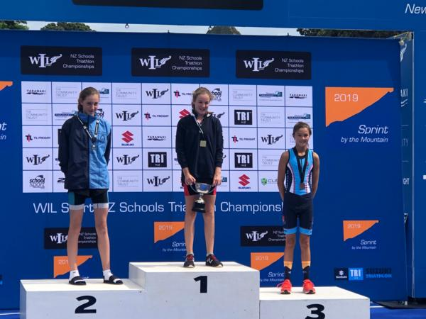 Lily Greenwood on the podium in New Plymouth