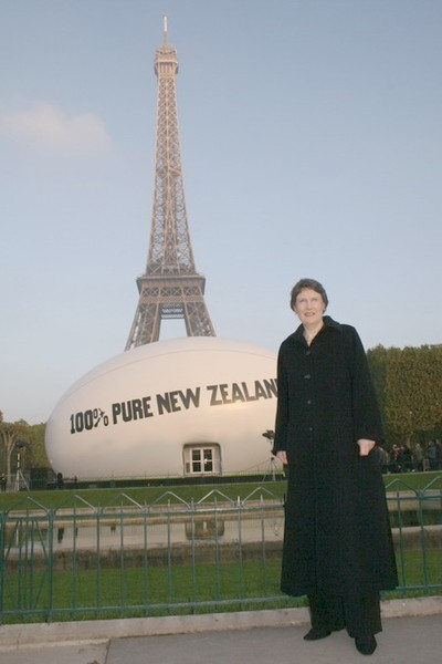 Prime Minister Helen Clark in front of the Rugby Ball Venue, Paris, France for the Dawn Blessing