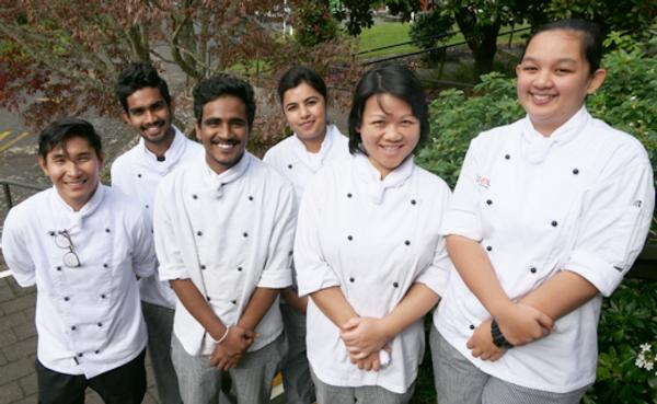 Some of the former FutureCOL students who are continuing their Culinary Arts studies at Toi Ohomai's Rotorua campus. From left: Kyrel Magnaye, Laziru Gamage, Kaween Nadeera, Amandeep Kaur, Sharon Hua and Ajay Chand.