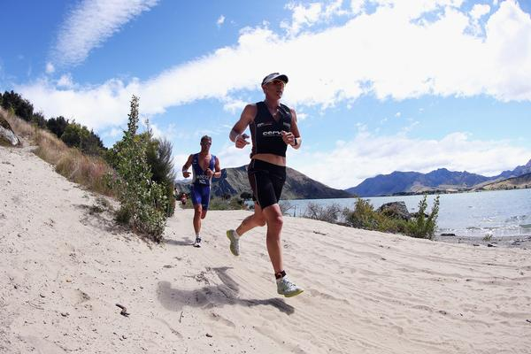 Dyland McNeice (in blue) during the Run on today's Challenge Wanaka