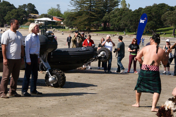 Left to Right, BNZ Head of Maori Business, Pierre Tohe & Sir Richard Branson are challenged by Ngati Whatua o Orakei