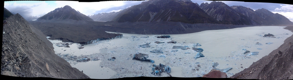 Panoramic view of Tasman Lake after the calving.