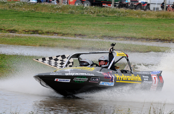 Wanganui's Leighton and Kellie Minnell lead the Superboat standings for this weekend's final round of the UIM Wanganui.com World Series jet sprint championship being held near Wanganui.