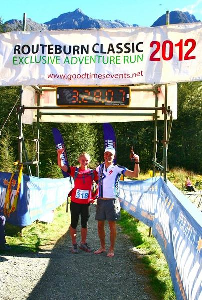 Cousins Braden Currie and Whitney Dagg celebrate their respective wins at the finish line of the Routeburn Classic.