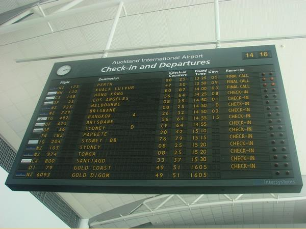 The solari board in action at the Auckland Airport international terminal.