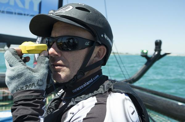 Emirates Team New Zealand tactician Ray Davies takes a bearing before the first day of racing in Venice.
