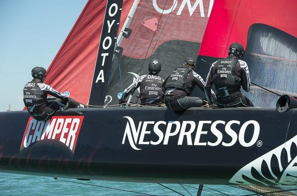 Emirates Team New Zealand get in a little practice before the first day of racing in Venice.