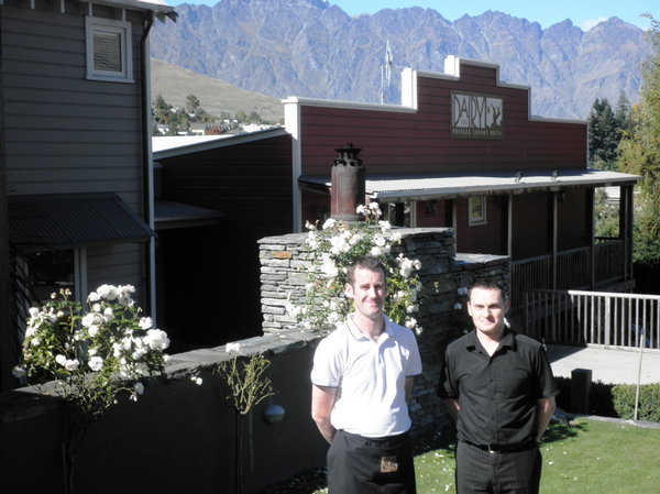 Matt Diack and Paul Cook outside The Dairy Private Hotel in Queenstown.
