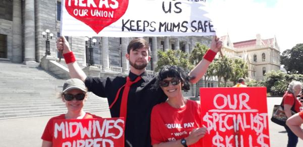Nelson midwives bring show of solidarity to Parliament