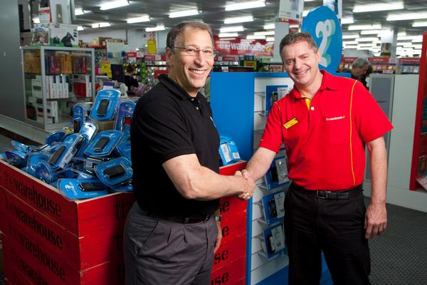 2degrees CEO Eric Hertz is welcomed in-store by The Warehouse CEO Mark Powell