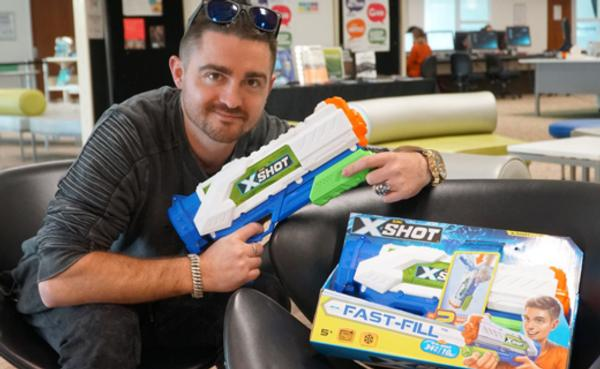 Andrew Parker with his fast filling water gun