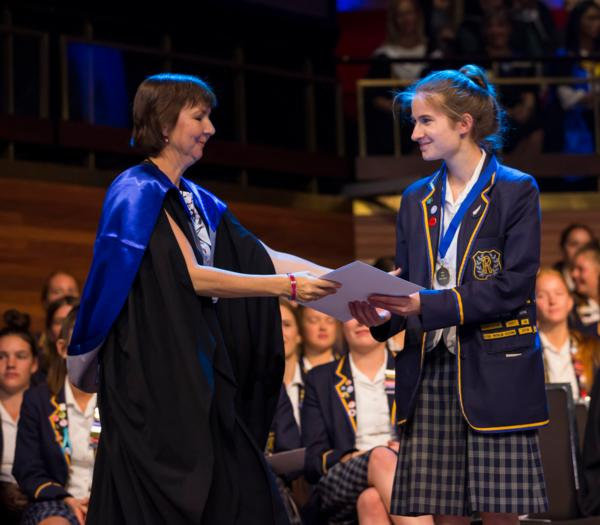 Emily Davey receives her award as Dux for 2019