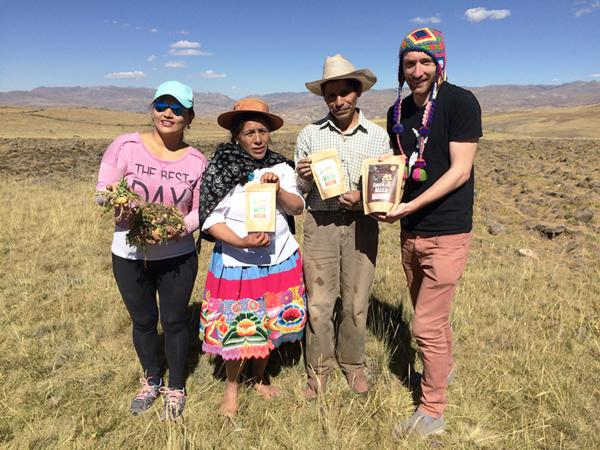 Seleno Health directors Sally Huapaya (left) and Dr Corin Storkey (right) with their farmer and his wife in Junin, Peru (4200m).