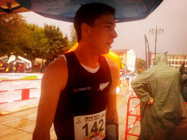 Tim Robertson at the finish line in Bulgaria.