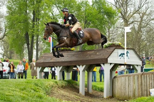 Andrew Nicholson aboard Calico Joe during the cross country phase of the Rolex Kentucky Three Dave event this morning. The combination sit in second place, just behind Nicholson and his other mount Quimbo.