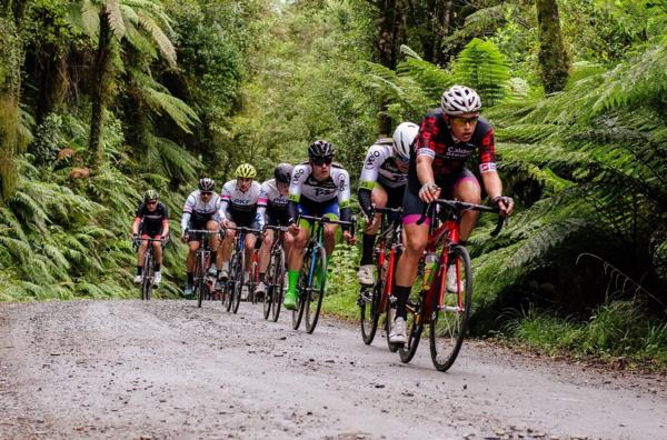 Jake Marryatt leads the elite men's bunch on the gravel with Hamish Keast on his wheel in last year's CYB Construction Hokitika Classic.
