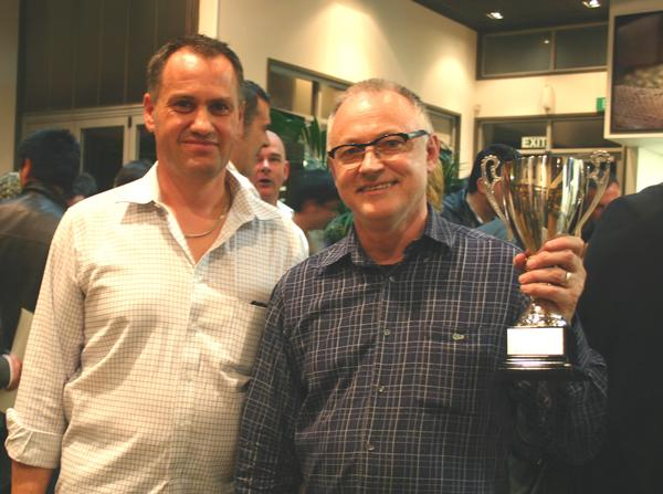 Celebrating the accolade for making the best coffee in New Zealand: Bernard Smith (right), founder of Vivace Espresso, with General Manager Paul Baker (left).
