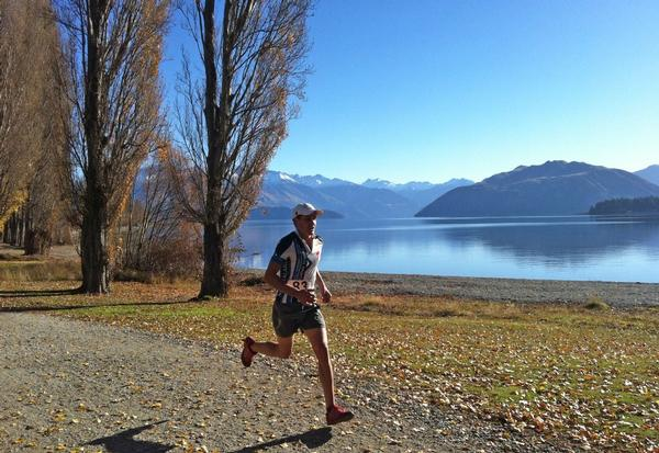Braden Currie pounding his way to victory on Wanaka's Waterfall Creek track.