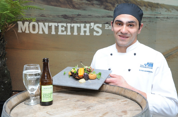A winning dish – chef Kane Bambery with his winning dish and Monteith's cider.