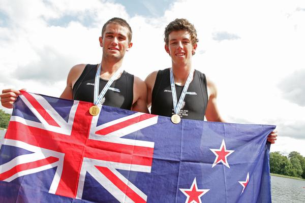 The New Zealand gold medal winning double scullers Hayden Cohen and Nathan Flannery