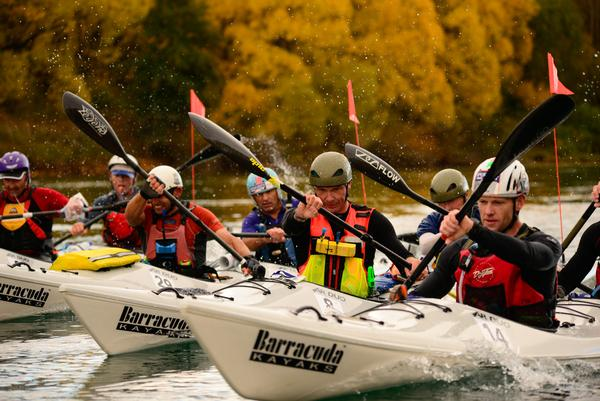 Competitors battle on the Clutha River
