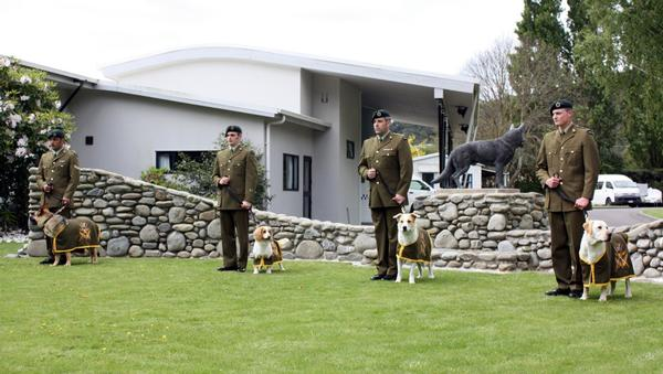 Defence Force dog handlers with their dogs, graduate from NZ Defence Force's first explosive detection dog course.