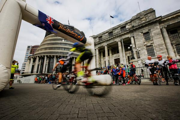 Riders taking on the final criterium race on the grounds Parliament in Wellington in the Tour of New Zealand