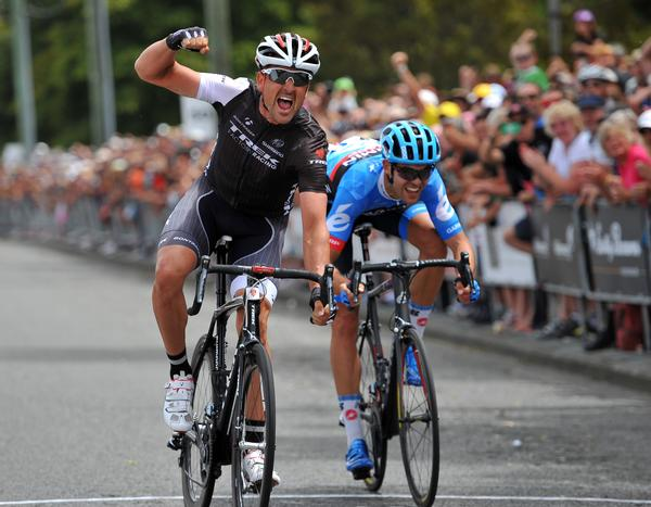 Hayden Roulston celebrates victory over Jack Bauer in the Calder Stewart Elite National Road Cycling Championships in Christchurch today.