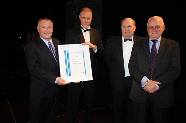 Mayor Mark Ball (left) and David Manton (right) with the Excellence in Education and Arts Property Award