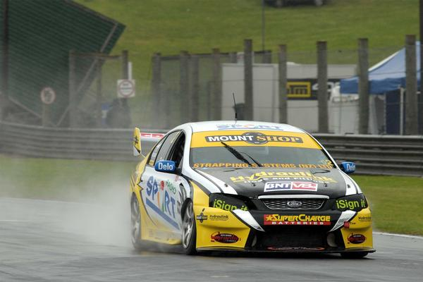 Birkenhead's Angus Fogg in the #2 Radio Sport Ford Falcon has taken an early lead in the BNT V8s championship despite a near disastrous crash early in the day the three-race 2011/2012 season opening round held at Pukekohe