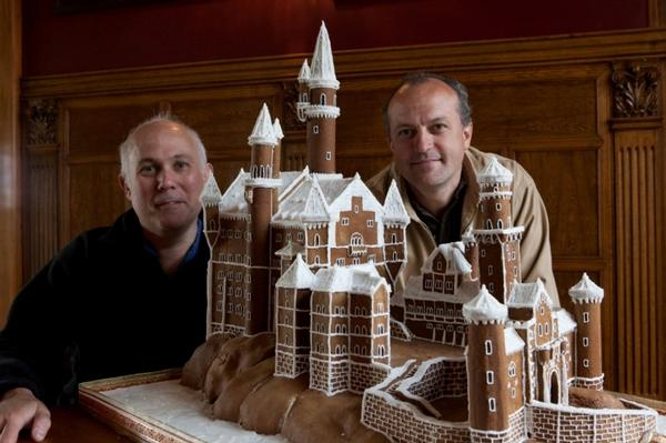 Gingerbread Castle with creators (L-R) James Glucksman and James Boussy
