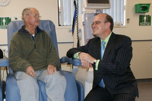 Photograph of Health Minister Tony Ryall with Bruce Gardiner, a local Gisborne resident who receives treatment in the new dialysis unit.