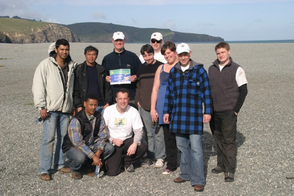 Weedbusters, from left to right, standing back row: Indika Desapriya, Rogelio Servitillo, Chris Foubister, Michael Bentley, Jono Hamilton, Sarah Ball, Steve Martin, Jared Luff Kneeling at front left to right: Negash Adem, Anton Trist