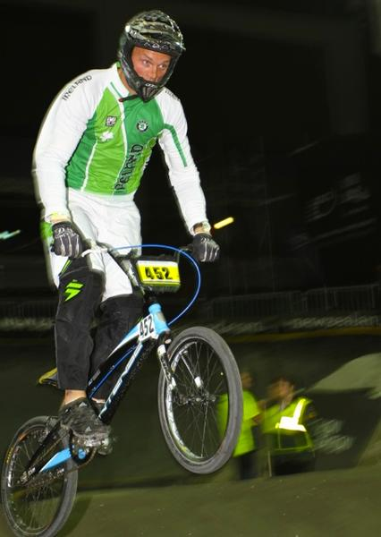 Ireland's Kelvin Batey in action on the way to winning the Masters title at the UCI BMX World Championships at Vector Arena, Auckland tonight.