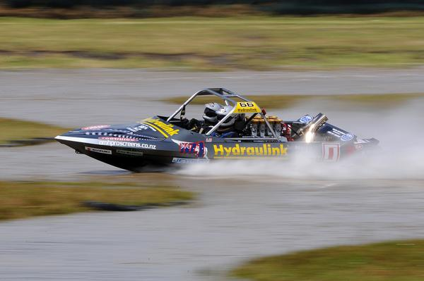 The sun before the rain storm gave Wanganui's Leighton and Kellie Minnell a chance to set what became the fastest time of the day in Sunday's fourth round of the Jetpro Jetsprint Championship held near Featherston, that later became rained out.