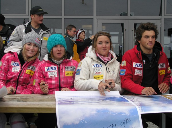 Lyndsey Vonn pictured with other Winter Games athletes poster signing at Coronet Peak last year