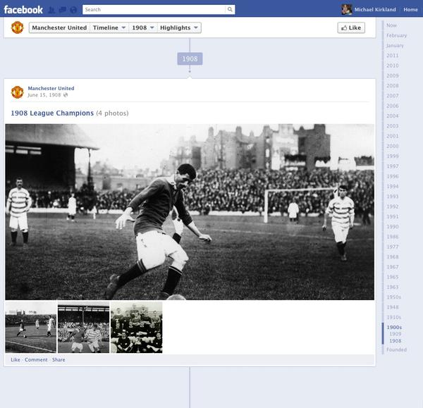 Manchester United uses Timeline's 'history' feature to their advantage