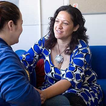 Bachelor of Midwifery student Ana Mihaere checks up on an expectant mother's progress