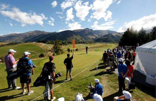Crowds enjoying the action at the 2012 NZ PGA Championship at  The Hills, Queenstown.