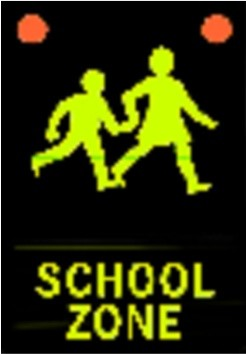The new active flashing light school warning sign