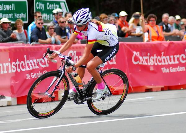 Triathlete Nicky Samuels in action on way to winning the RaboDirect National Road cycling Championship in Christchurch