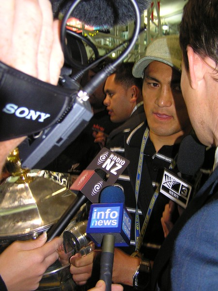 Jerome Ropati in the media scrum