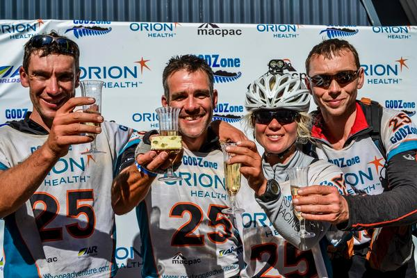 Petry Sykora, Jim Cotter, Sia Svenson and Milan Brodina at the 2013 finishline.