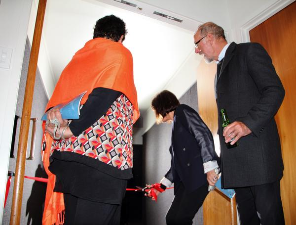 Mayor Wayne Brown's wife Toni officially opens the cinema while Mr Brown and Kaitaia health worker Lisa McNabb look on.