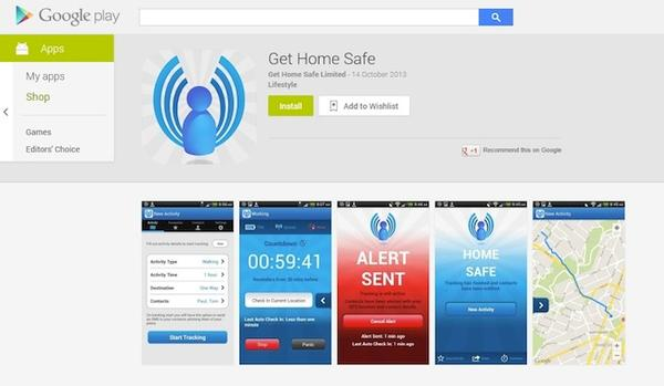 Screen Grab - Get Home Safe now available on Google Play.