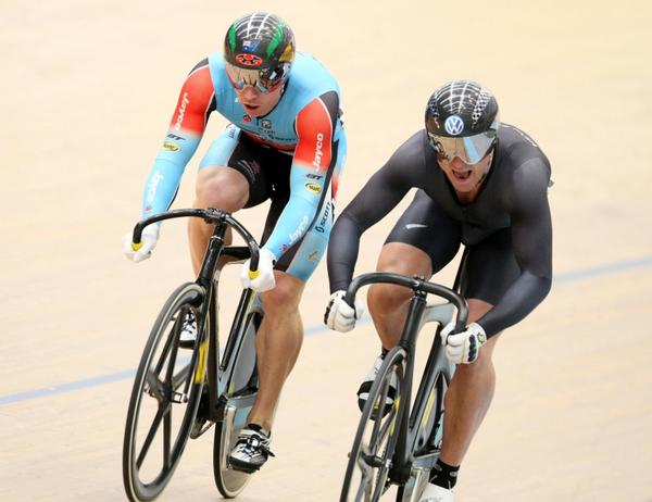 London Olympic medallists Shane Perkins (Australia) and Simon van Velthooven during the sprint semifinals at Invercargill yesterday.