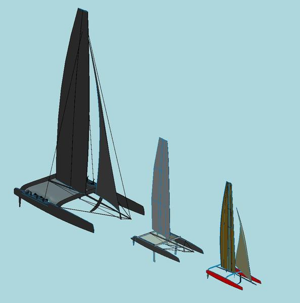 Graphic comparing AC72, AC45 and SL33 catamarans