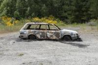 The fire-damaged Subaru station-wagon located yesterday at Dunlops Road, near Loburn.